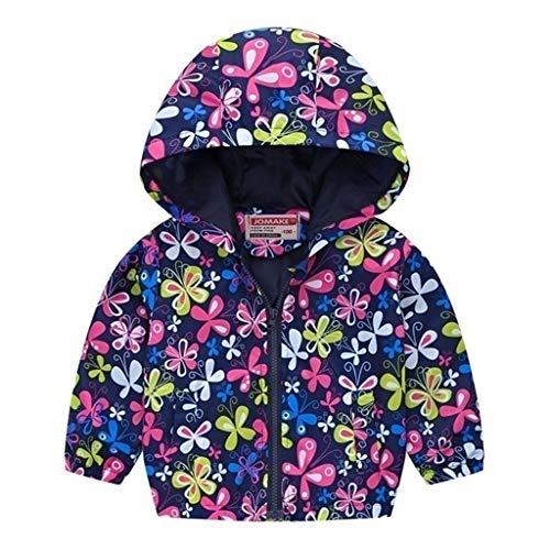 Giacca Impermeabile per Ragazze Ragazzi Bambini Leggero Cappotto con Cappuccio Neonata Bambina Giubbotto Felpa Maniche Lunghe 2-7 Anni