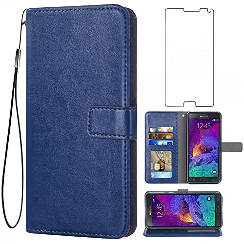 Asuwish Compatible with Samsung Galaxy Note 4 Wallet Case Tempered Glass Screen Protector and Leather Flip Cover Card Holder Phone Cases for Glaxay Note4 Gaxaly N910A Not Notes Four Women Men Blue
