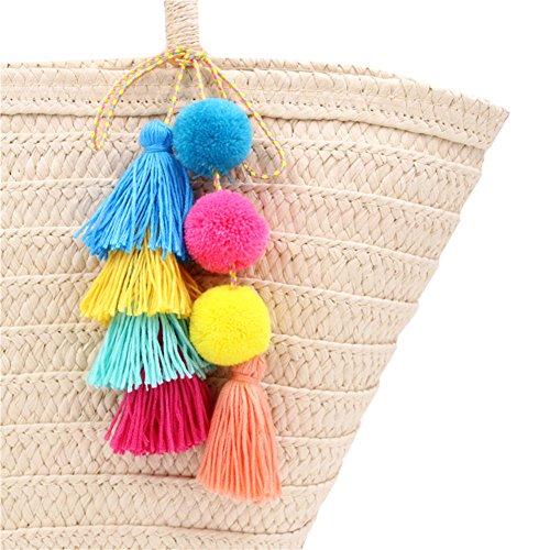 """Size:Total length approx 34"""" Each item contains 8 colors tassles and beads. This colorful cute tassel keychain is a lively way to identify your keys. Great to Decorate your purse, tote or backpack with this trendy pom pom tassel bag charm. Lightweigh..."""