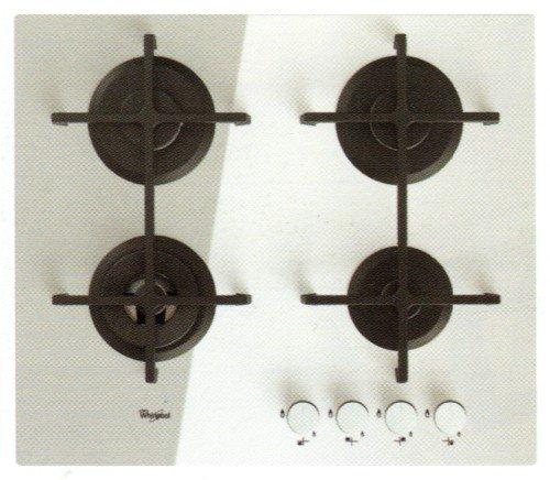 Whirlpool GOA 6423/WH hobs - Placa (Integrado, Gas, Vidrio, Giratorio, Parte superior delantera, 230V) Color blanco