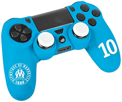 Pack d'accessoires de customisation pour manette PS4 avec coque / housse souple en silicone anti-transpirante et thumb grips caps pour joystick - OM Olympique de Marseile n°10 Bleu Dimitri Payet