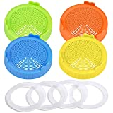 TIMGOU 4 Pack Plastic Sprouting Lids with 4 PCs Silicone Seal Rings for Wide Mouth Mason Jars, Easy Rinse & Drain 86mm Strainer Lids for Grow Bean Sprouts