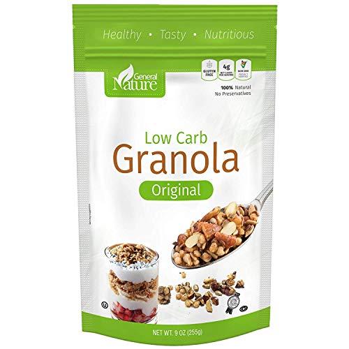 Low Carb Granola Cereal, Gluten Free, Sugar Free, 4g Net Carbs, No Sugar Added, Non-GMO, No Artificial Sweeteners, 100% Natural, No Preservatives, Kosher, Vegan-Friendly