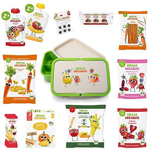 Freche Freunde Snackbox-Paket, Bio Kindersnacks für Kinder mit 2-teiliger Lunchbox mit Fächern unterteilt, Kindergarten Brotbox mit Tragegriffe