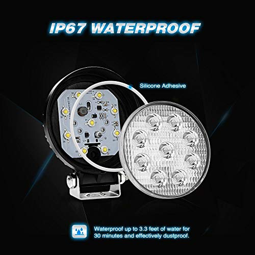 Nilight NI-07 Round 2PCS 27W Spot Driving Lamp Jeep Fog Lights with Off Road Wiring Harness-2 Leads, 2 Years Warranty, 2 Pack