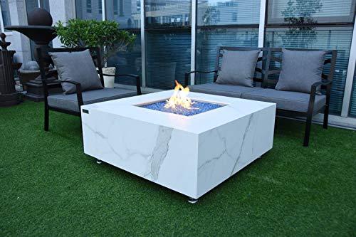 AMS Firepit | Catania Marble Porcelain Fire Table | Natural Gas 17'' H x 39'' W x 39'' D