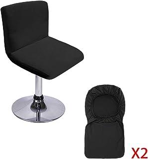 BTSKY - Juego de 2 Fundas Negras para taburetes de Bar con Funda para Respaldo de Silla elástica para Silla de Comedor con Respaldo Giratorio, Silla de Bar (sin sillas)