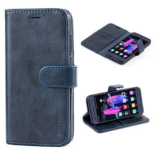 Mulbess Handyhülle für Huawei Honor 9 Hülle Leder, Honor 9 Handy Hüllen, Vintage Flip Handytasche Schutzhülle für Huawei Honor 9 Hülle, Navy Blau