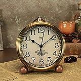 TEHWDE Old Fashioned Nacht Wecker Retro Europischen Stille Batteriebetriebene Analog Quarz Bronze Farbe Rmische Uhr Kreative Schreibtisch Tischuhren Metall Hause Schlafzimmer Deco