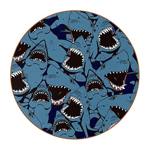Runde Untersetzer, 6 Stück, rund, Tassen, Tassen, Matte Pad für Zuhause, Küche, schönes Geschenk, Meereswütende Haifischzähne mit blauem Muster