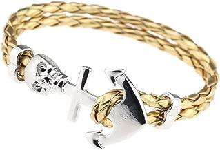 LLXXYY Leren armband, vintage leer goud armband mode man wrap doodshoofd