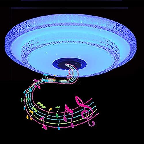 Plafón LED Con Altavoz Bluetooth, Lámpara De Techo Musical Para Baño Con RGB Regulable, Aplicación Y Control Remoto, Pantalla De Cristal De Doble Capa Para Cocina, Dormitorio