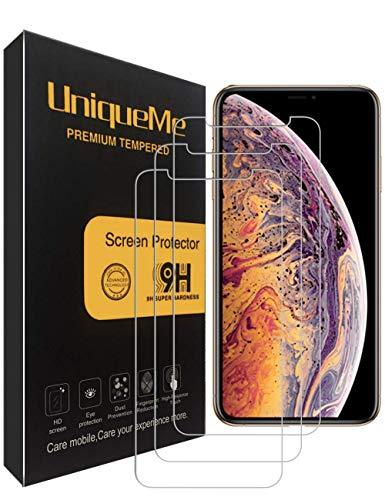 UniqueMe [3 Pack] Protector de Pantalla para Apple iPhone XS MAX, [ 9H Dureza ] Vidrio Templado Libre con garantía de reemplazo de por Vida