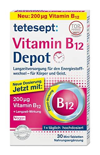 tetesept Vitamin B12 Depot Minitabletten – Mit 200μg Vitamin B12 zur Langzeitversorgung des Energiestoffwechsels - für Körper und Geist – 5er Pack - 5 x 30 Minitabletten (Nahrungsergänzungsmittel)