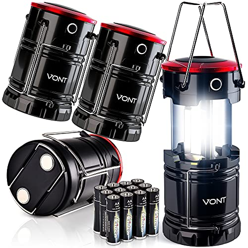 Vont LED Lantern Pro, Camping Lantern [4 Pack] 2X Brighter, Collapsible 360 Illumination w/ Red Light, Battery Powered/Operated Emergency Light for...