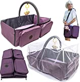 Best Diaper Bag, Premium 3 in 1 Diaper Bag/Baby Nap Mat/Baby Bassinet, Portable Diaper Changing Station, Includes Travel Accessories for Baby Mosquito Net Protection System
