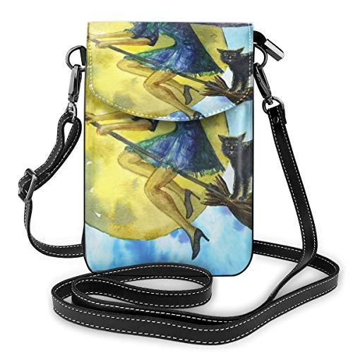 Heks Vliegen Op Een Broomstick Kleine Crossbody Tassen Crossbody Mobiele Telefoon Handtas - Vrouwen PU Lederen Handtas Met Verstelbare Band Voor Dagelijks Leven