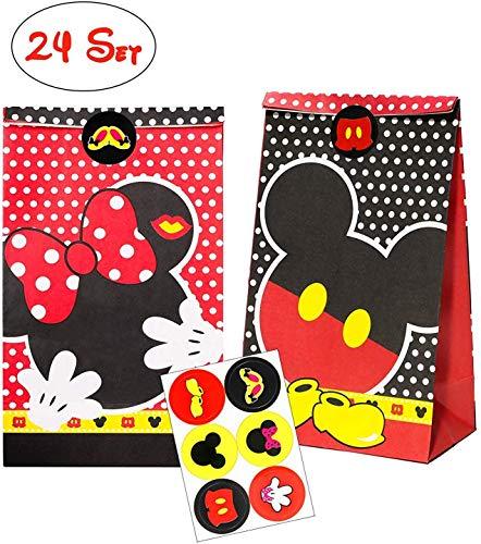 BeYumi 24Pcs Mickey Papier Candy Tüten Partytüten Set, Mickey Geschenktüten mit Stickern zum Geburtstag Klein Candy Tüten - Ideal für die Geburtstagsfeier Babyparty Hochzeit