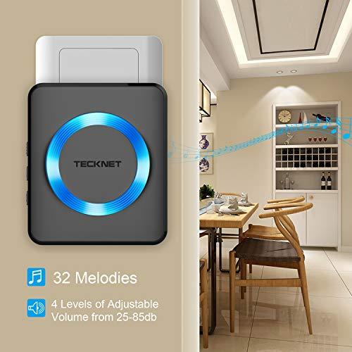 TECKNET Wireless Doorbell, Waterproof Twin Wall Plug-in Cordless Door Chime Kit with 300m Range, 32 Chimes, 4-Level Volume & Blue Light, No Batteries Required Best for Plug in Door Entry Bell