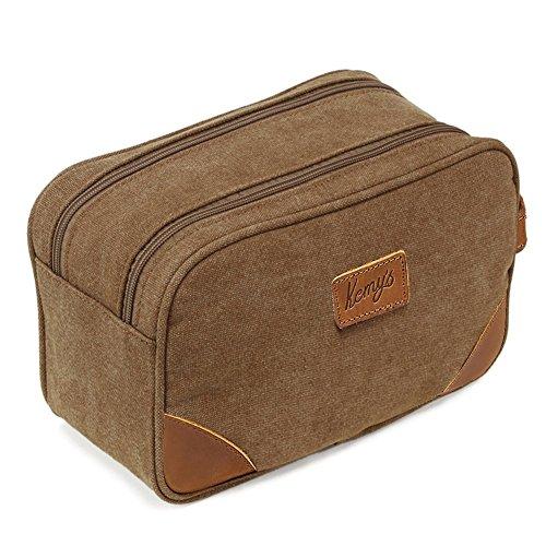 Beauty case da uomo in tela, stile vintage, kit dopp da barba, borsa da bagno con doppio scomparto, per viaggi Marrone Marrone medium