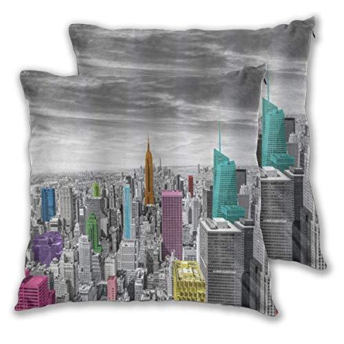 ELIENONO Juego de 2 Decorativo Funda de Cojín Nueva York NYC fotografía Monocroma del Paisaje Urbano con Coloridos Edificios Arquitectura Urbana Funda de Almohada Cuadrado para Sofá Cama Decoración
