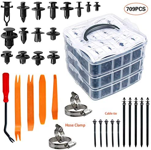415pcs Car Retainer Clips Auto Push Pin Rivet Clips+56pcs Car Wire Harness Routing Clip Assortment Wiring Harness Wire Loom Routing Clips With Fastener Remover for GM Ford Toyota Honda Chrysler Mazda