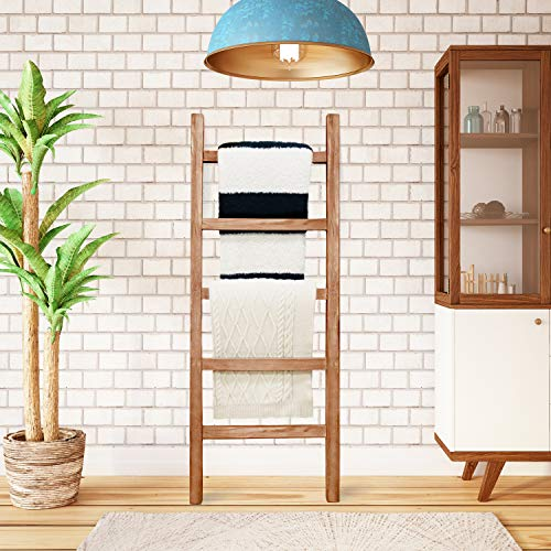 SoFlo Rustic Blanket Ladder - Modern Wooden Ladder - Neutral Color - Trendy Decor - Quilt Holder - Towel Organizer - Farmhouse Bathroom - Decorative Leaning Wood Rack (Brown)