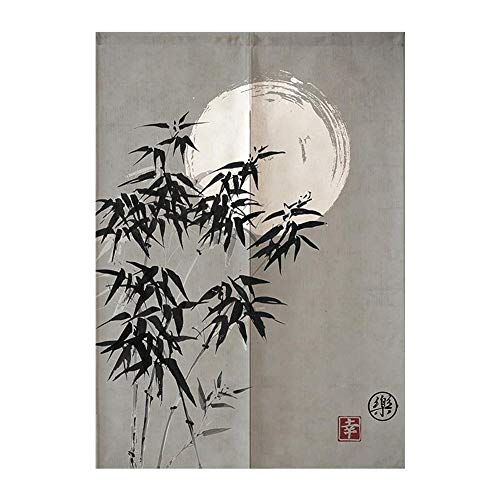 MYRU Japanese Noren Doorway Curtain Tapestry (Bamboo and Moon,33.5 Inches x 59 Inches)