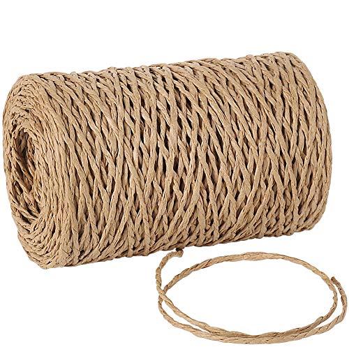Tenn Well Natürliches Papierband, 100 m, 2 mm, gedrehtes Bast-Papierband für Geschenkverpackungen, Basteln, Verpacken, Häkeln