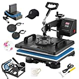 Weanas Heat Press Machine 12' X 15' Professional Swing Away Heat Transfer 5 in 1 Digital Sublimation for T-Shirt/Mug/Hat Plate/Cap (Blue and Black, 5 in 1)