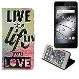 K-S-Trade® Schutzhülle Für Gigaset GS180 Schutz Hülle 360° Wallet Case ''live Life Love'' Schutzhülle Handy Tasche Handyhülle Etui Smartphone Flip Cover Standfunktion (1x)