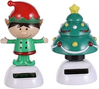 PRETYZOOM 2pcs Dancing Solar Toy Christmas Elf Christmas Tree Solar Powered Toys Car Dashboard Home Decor Novelty Solar Kids Christmas Party Supplies Toy