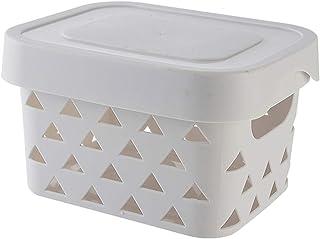 HLYT-0909 Boîte de rangement Panier de rangement triangle creux de bureau, panier de rangement avec couvercle, boîte de ra...
