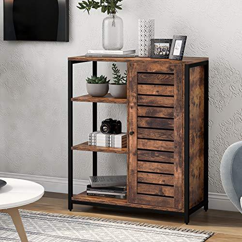 TETHYSUN Sideboard, Kommode Schrank Lagerschrank mit 3 offenen Ablagen, 2 eingebauten verstellbaren Regalen, Küchenschrank, Badezimmerschra, Industriedesign, 70 x 30 x 80cm