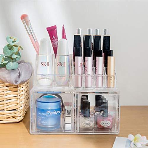 MUY Organizador de Maquillaje acrílico, Caja de plástico Transparente para Almacenamiento de cosméticos, Organizador Multifuncional para baño y joyería