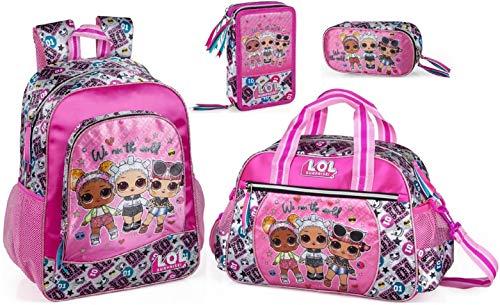 LOL Surprise Mochila, bolsa de deporte, estuche y estuche escolar para niña L.O.L. Para muñecas.