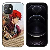 iPhone 12 Phone Case Anime Gaara Tempered Glass Back + Silicone TPU Glass Cell Phone Case for iPhone 12