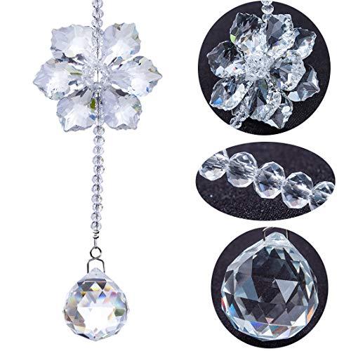 H&D Kristall Regenbogen Sonnenfänger Glas Schneeflocke Anhänger hängende Kugel Prisma Dekor
