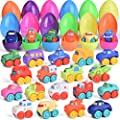 18 Pcs Easter Eggs Prefilled with Baby Cars for Easter Basket Stuffers, Soft Rubber Toy Vehicles for Baby Easter Gifts