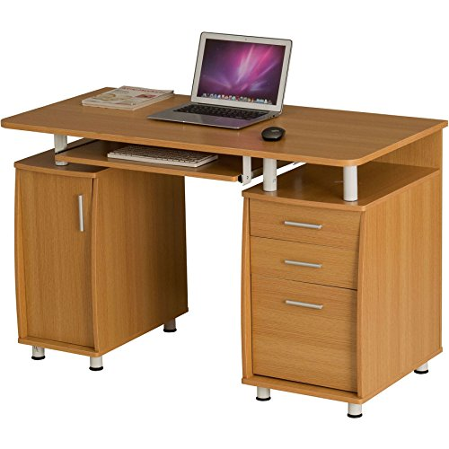 Large Computer and Writing Desk with A4 Filing, 2 Stationery Drawers and Cupboard for the Home Office in Oak Effect - Piranha Furniture Emperor PC 2o