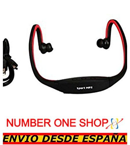 NUMBERONESHOP-Auriculares Reproductor MP3 Deportivos Sin Cables Micro SD USB Radio FM Rojo -Envio Desde Espana