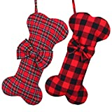 Cooraby 2 Pack Dog Christmas Stockings Buffalo Plaid Bone Shape Hanging Christmas Stocking for Christmas Decorations, 16 Inches (Color 2)