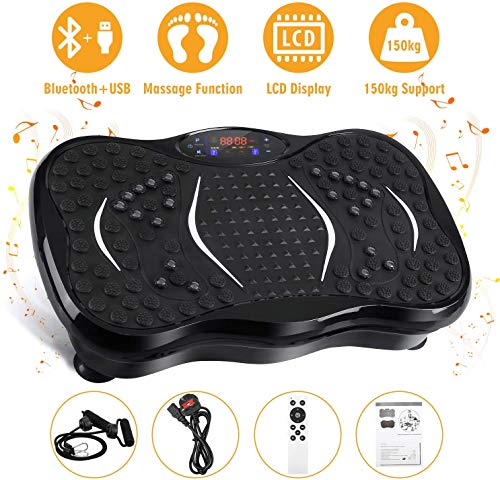 Vibrationsgeräte Fitness 3d Vibration, GM-Luckey Vibrationsplattform mit Fett Verlieren Sport Trainingsbänder, LCD Display, Bluetooth Lautsprecher, und Fernbedienung, Fitnesstraining für Zuhause