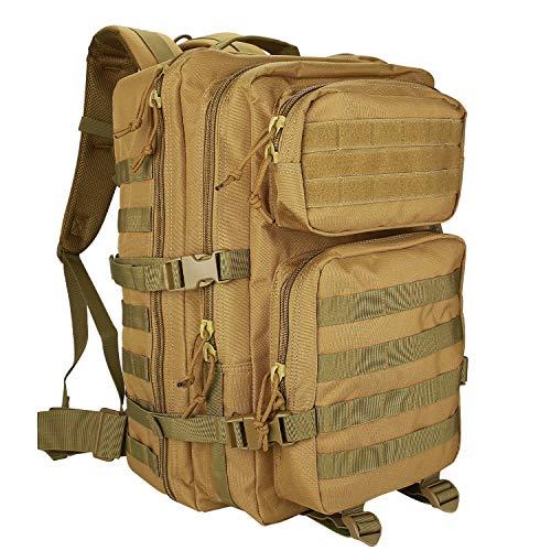 ProCase Mochila 40 L Táctica Militar, Paquete de Asalto MOLLE de Gran Capacidad para Utilidad Militar, Bolsa de Emergencia de 3 Días para Caza Senderismo Acampada y Actividad al Aire Libre –Caqui