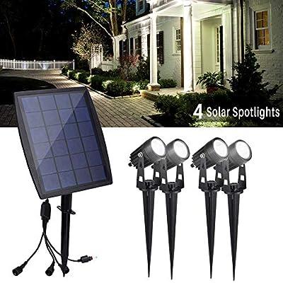 DINGLILIGHTING Solar Powered Outdoor Spot Lights Outdoor, 4-Lights Led Landscape Spotlight,Wall Security Lighting for Garden, Yard, Porch, Pathways, Entryways, Garages, Daylight