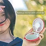 CAOQAO Chat Miroir De Maquillage LED Ventilateur USB Ventilateur, Mini Miroir HD + LumièRe De Beauté + Cordon Ventilateur Rechargeable,pour Maison, Bureau Et Le Voyage, La Marche, Le Camping,Rouge