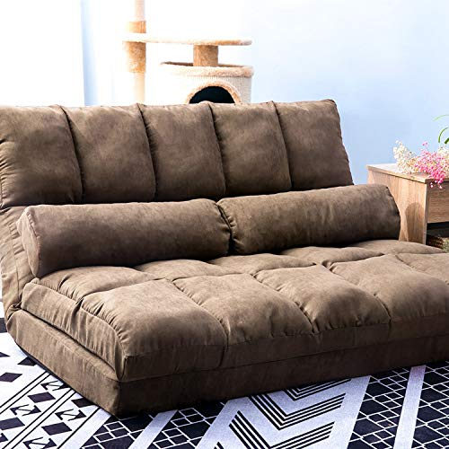 Double Chaise Lounge Sofa, Floor Sofa Bed Adjustable Sleeper Bed Futon Bed Sofa Couches 5-Position Reclining Sofa Lazy Sofa with Two Pillows (Brown)