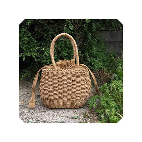 Rattan Woven Straw Picnic Bag Summer Beach Basket Summer Vacation Women Camping Handle Handbag