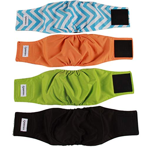 vecomfy Washable Belly Bands for Male Dogs 4 Pack,Premium Reusable Small Dog Wrap Leakproof Puppy Diapers,S
