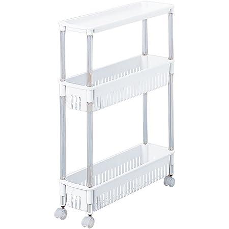 サンコープラスチック すき間収納 オフホワイト 約幅15×奥行50×高さ65cm テーブルワゴン 3段 超スリム